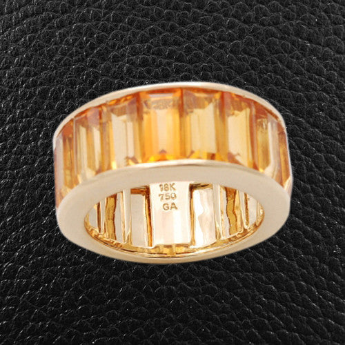 Emerald cut Citrine Ring
