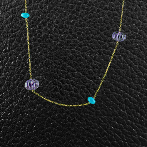 Amethyst & Turquoise Bead Necklace