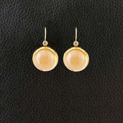 Cabochon Cognac Quartz & Diamond Earrings