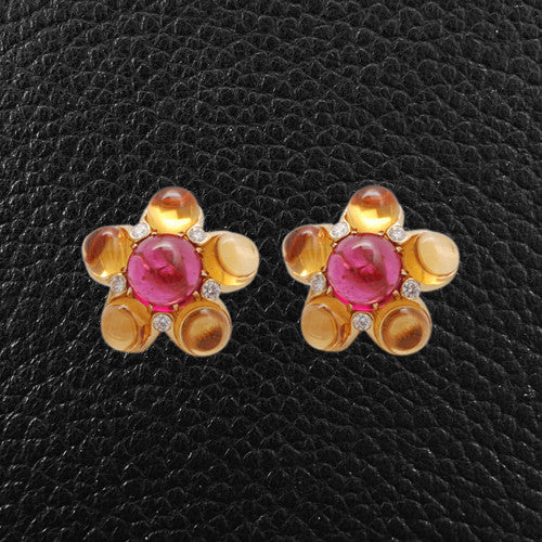 Cabochon Citrine, Rubellite & Diamond Earrings
