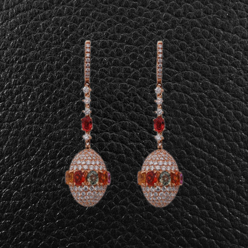 Multicolor Sapphire & Diamond Dangle Earrings