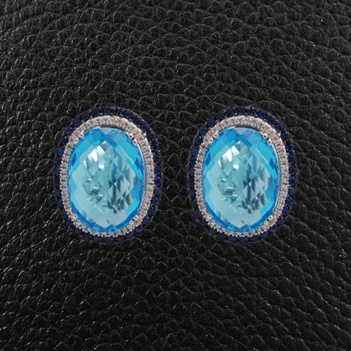 Blue Topaz, Sapphire & Diamond Earrings