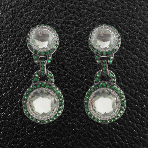 Green Garnet, Green Amethyst & Diamond Earrings