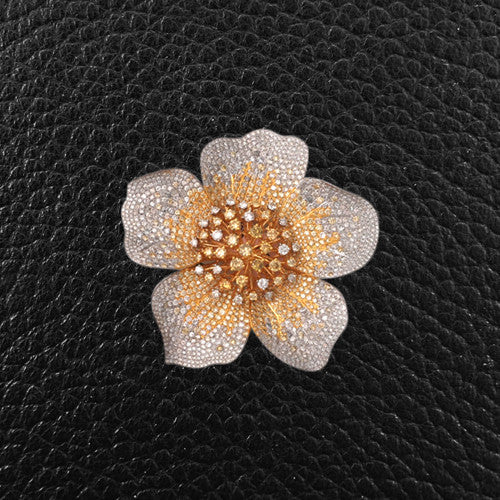 Multicolor Diamond Flower Pin