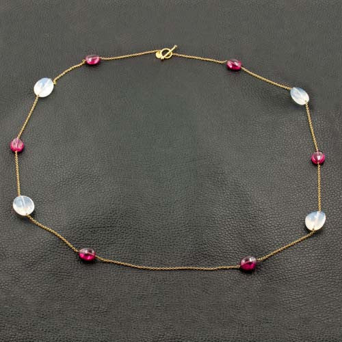 Moonstone & Rubellite Bead Necklace