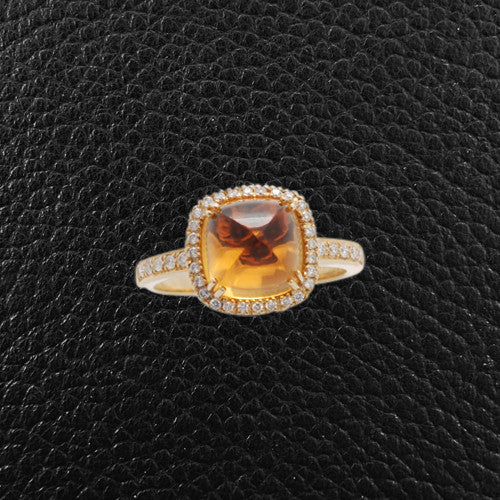 Carved Cabochon Citrine & Diamond Ring