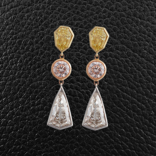 Yellow, Pink & White Diamond Dangle Earrings