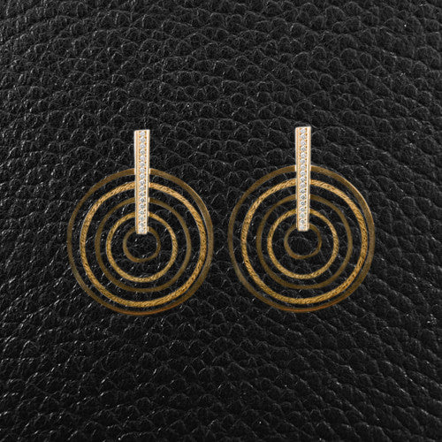 Yellow Gold & Diamond Concentric Circle Earrings