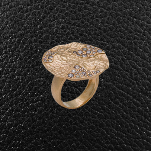 Brown Diamond & Hammered Gold Ring