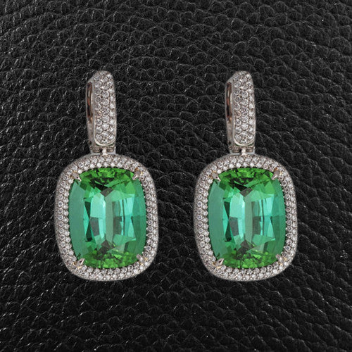 Blue-Green Tourmaline & Diamond Drop Earrings