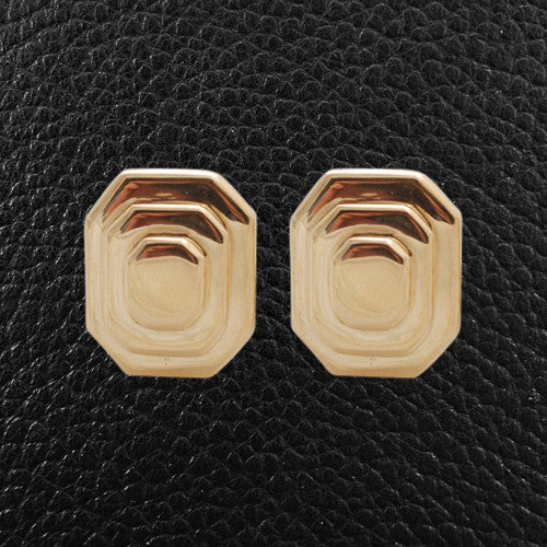 Yellow Gold Octagon Earrings