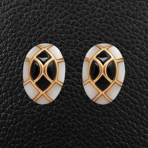 Enamel & Gold Plated Estate Earrings