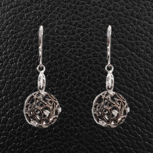 Diamond Ball Dangle Earrings