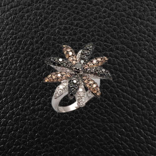 White, Black & Brown Diamond Flower Ring