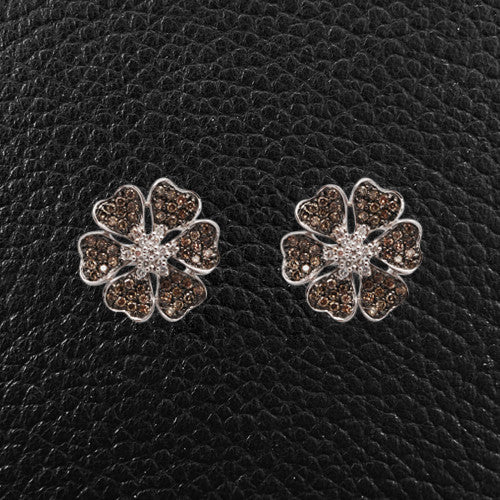 White & Brown Diamond Flower Earrings