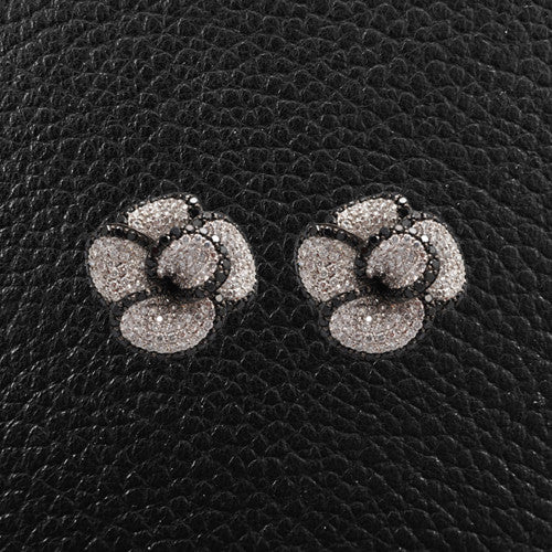 Black & White Diamond Flower Earrings