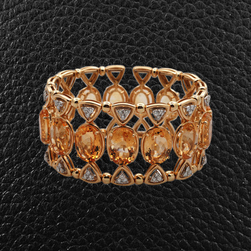Citrine & Diamond Cuff Bracelet