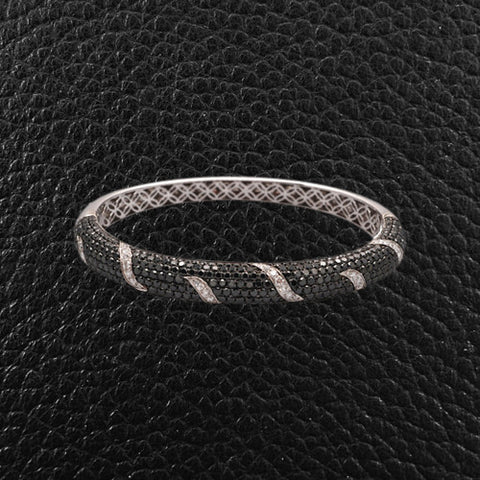 Black & White Diamond Bangle Bracelet