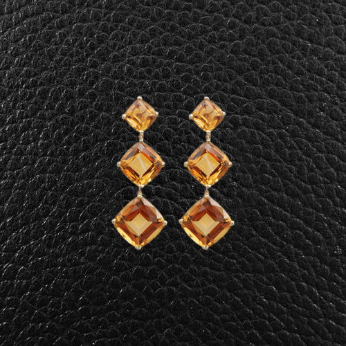 Cushion cut Citrine Dangle Earrings