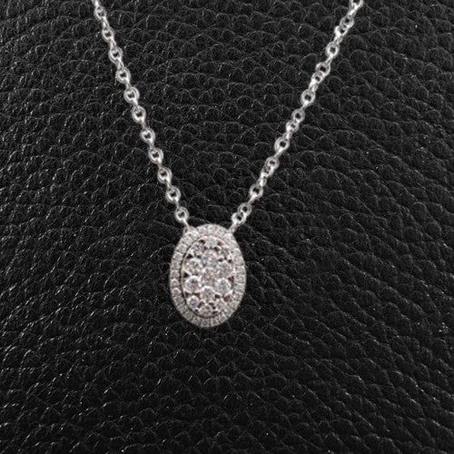 Oval shaped Pendant with Multiple Diamonds