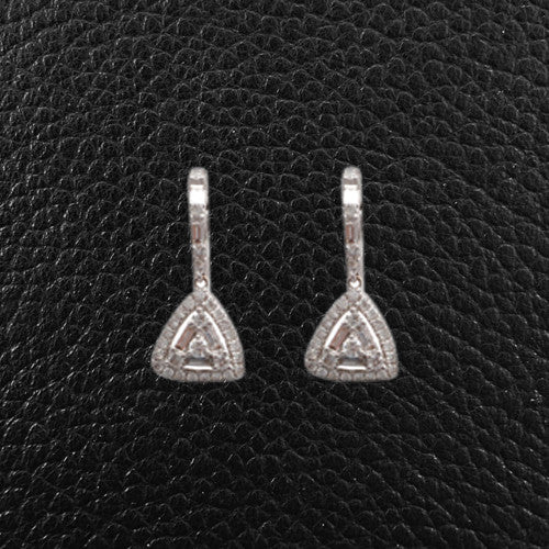 Triangular Dangle Diamond Earrings