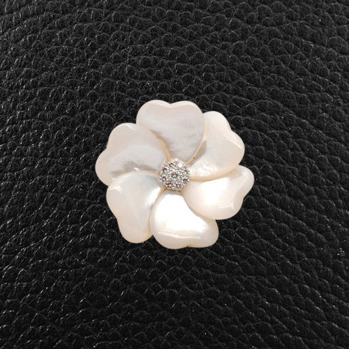 Mother of Pearl & Diamond Flower Pin
