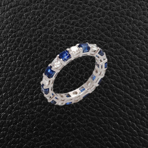 Sapphire & Diamond Prong set Band