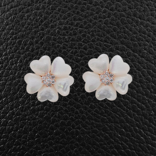 Mother of Pearl & Diamond Flower Earrings