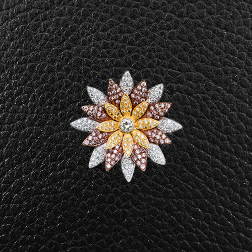 Pink, Yellow & White Diamond Flower Pin/Pendant