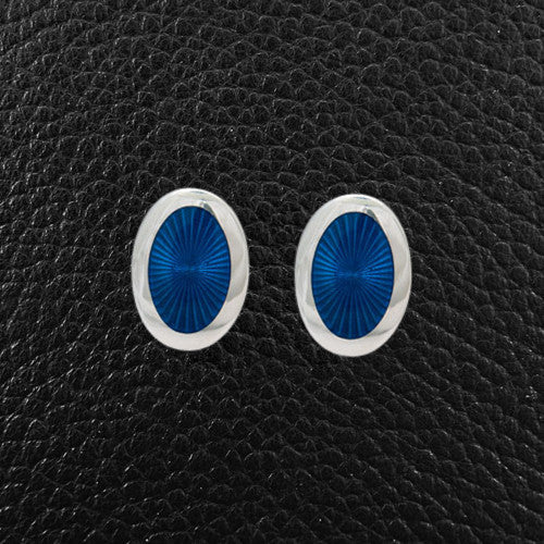 Blue Enamel & Sterling Silver Cufflinks