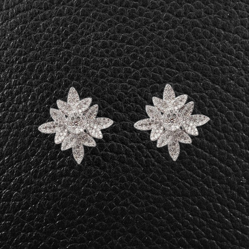 Diamond Leaf Cluster Earrings