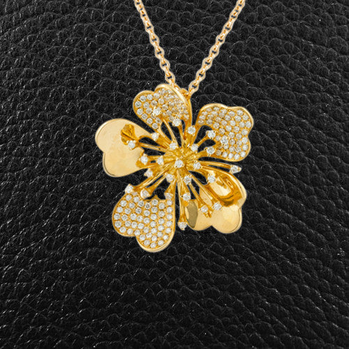 Gold & Diamond Flower Pendant