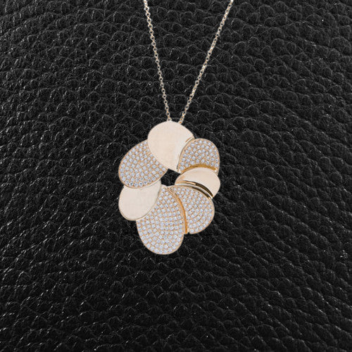Gold & Diamond Stylized Flower Pendant