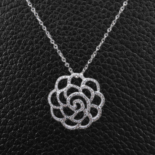 Diamond Openwork Flower Pendant