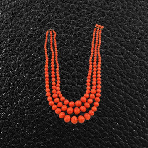 Red Coral Bead Estate Necklace