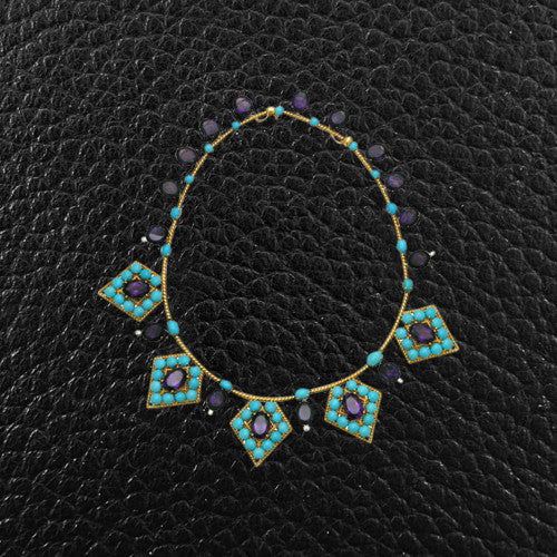 Amethyst, Turquoise & Diamond Estate Necklace