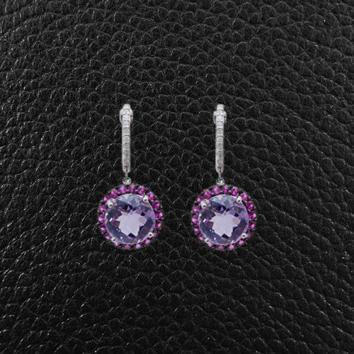 Amethyst, Diamond & Pink Sapphire Earrings