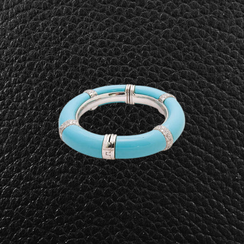 Turquoise & Diamond Hinged Bangle Bracelet