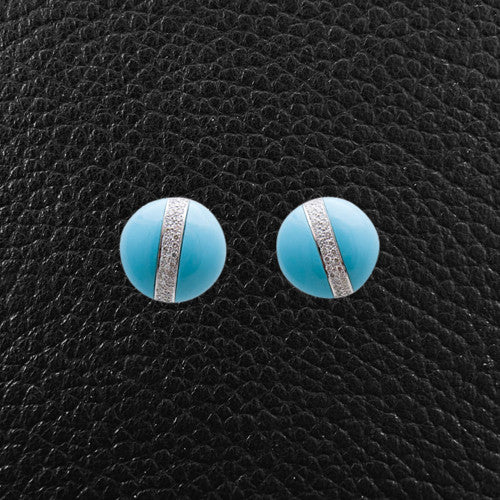 Turquoise & Diamond Earrings