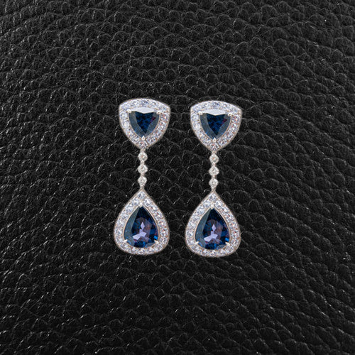 Blue Spinel & Diamond Dangle Earrings