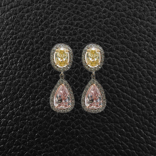 Pink, Yellow & White Diamond Earrings