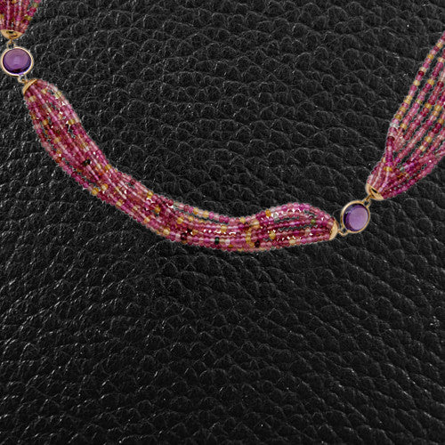 Tourmaline Bead & Amethyst Necklace