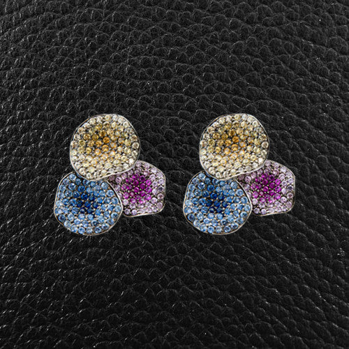 Flower Petal Earrings with Multicolor Sapphires