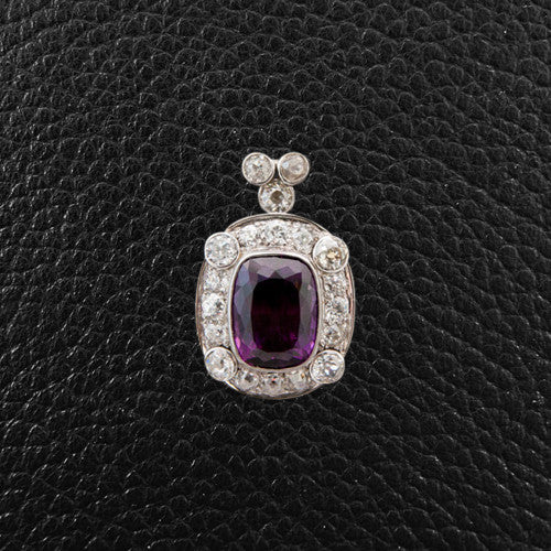 Purple Tourmaline & Diamond Pendant