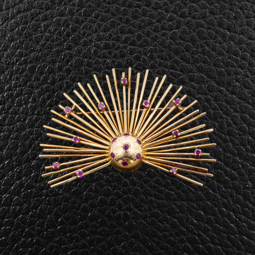 Estate Sunburst Pin & Earrings Set