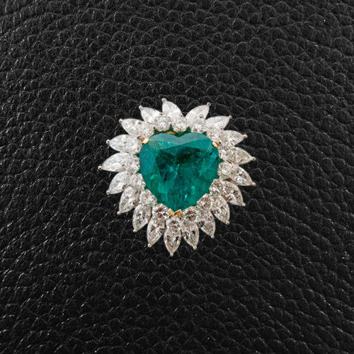 Heart shaped Emerald & Diamond Pin/Brooch