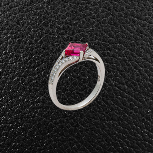 Red Spinel & Diamond Ring