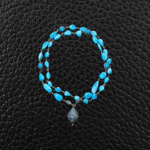 Turquoise Bead & Diamond Necklace