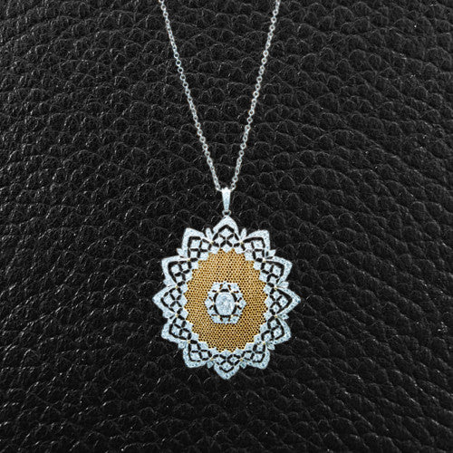 Diamond Lace Flower Pendant