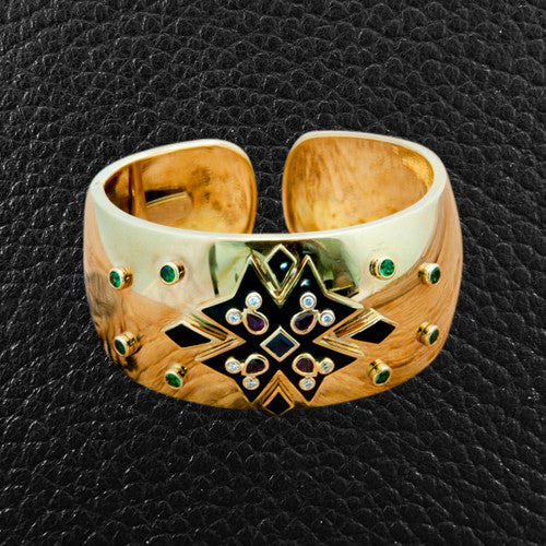 Gold Cuff with Rubies, Tsavorite, Onyx & Diamonds